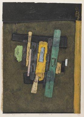 Hagiwara Hideo (Japanese, 1913-2007). <em>Composition Z</em>, 1958. Color woodcut, 20 7/8 x 14 9/16 in. (53 x 37 cm). Brooklyn Museum, Carll H. de Silver Fund, 63.68.11. © artist or artist's estate (Photo: Brooklyn Museum, 63.68.11_IMLS_PS3.jpg)