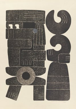 Hodaka Yoshida (Japanese, 1926-1995). <em>Ancient People</em>, 1956. Relief print on paper, image: 17 1/8 × 12 1/4 in. (43.5 × 31.1 cm). Brooklyn Museum, Carll H. de Silver Fund, 63.68.15. © artist or artist's estate (Photo: Brooklyn Museum, 63.68.15_IMLS_PS3.jpg)