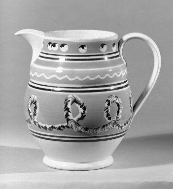 <em>Jug</em>. Earthenware, glazed Brooklyn Museum, Gift of Al Lewis, 63.93.2. Creative Commons-BY (Photo: Brooklyn Museum, 63.93.2_bw.jpg)