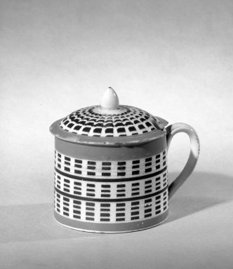 <em>Covered Mustard Pot</em>. Earthenware, glazed Brooklyn Museum, Gift of Al Lewis, 63.93.32. Creative Commons-BY (Photo: Brooklyn Museum, 63.93.32_acetate_bw.jpg)