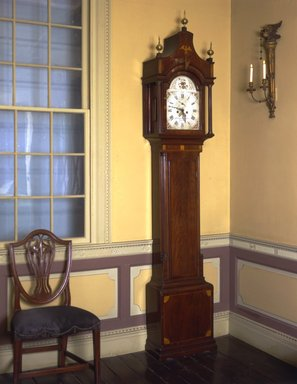 American. <em>Tall Clock</em>, ca. 1800. Mahogany, brass, 104 x 19 1/2 x 9 in.  (264.2 x 49.5 x 22.9 cm). Brooklyn Museum, Gift of Mrs. Teunis Schenck, 63.97. Creative Commons-BY (Photo: Brooklyn Museum, 63.97_view2_SL4.jpg)