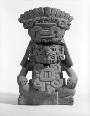 Zapotec. <em>Effigy Urn</em>. Clay Brooklyn Museum, Gift of Mrs. William Boruff and Richard Helm in memory of Arthur H. Walker, 63.9. Creative Commons-BY (Photo: Brooklyn Museum, 63.9_bw.jpg)