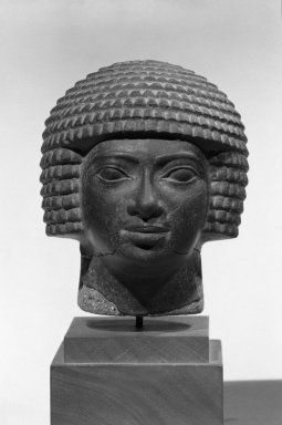 <em>Male Head</em>. Basalt, 4 13/16 x 4 x 4 5/16 in. (12.3 x 10.2 x 11 cm). Brooklyn Museum, Anonymous gift in memory of Mary E. Lever and H. Randolph Lever, 64.1.2. Creative Commons-BY (Photo: Brooklyn Museum, 64.1.2_front_bw.jpg)