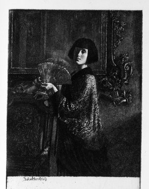 Gerald Leslie Brockhurst (British, 1890-1978). <em>L'Eventail</em>, 1922. Etching on laid paper, 6 1/2 x 4 1/2 in. (16.5 x 11.4 cm). Brooklyn Museum, Gift of The Louis E. Stern Foundation, Inc., 64.101.101 (Photo: Brooklyn Museum, 64.101.101_bw.jpg)