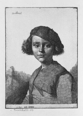 Gerald Leslie Brockhurst (British, 1890-1978). <em>Fabian</em>, 1921. Etching on laid paper, 6 7/8 x 5 in. (17.5 x 12.7 cm). Brooklyn Museum, Gift of The Louis E. Stern Foundation, Inc., 64.101.102 (Photo: Brooklyn Museum, 64.101.102_bw.jpg)