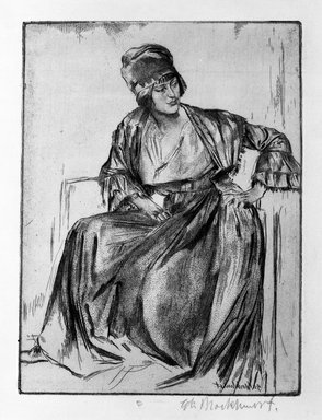 Gerald Leslie Brockhurst (British, 1890-1978). <em>Genevieve</em>, 1922. Etching on laid paper, 7 7/8 x 5 7/8 in. (20 x 15 cm). Brooklyn Museum, Gift of The Louis E. Stern Foundation, Inc., 64.101.107 (Photo: Brooklyn Museum, 64.101.107_bw.jpg)