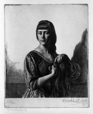 Gerald Leslie Brockhurst (British, 1890-1978). <em>La Tresse</em>, 1926. Etching on wove paper, 21 5/16 x 17 3/16 in. (54.1 x 43.7 cm). Brooklyn Museum, Gift of The Louis E. Stern Foundation, Inc., 64.101.123. © artist or artist's estate (Photo: Brooklyn Museum, 64.101.123_bw.jpg)
