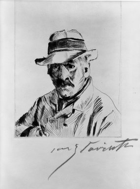 Lovis Corinth (German, 1858-1925). <em>Self-Portrait in Straw Hat (Selbstbildnis im Strohhut)</em>, 1913. Drypoint on buff wove paper, Image (Plate): 5 7/8 x 4 9/16 in. (14.9 x 11.6 cm). Brooklyn Museum, Gift of The Louis E. Stern Foundation, Inc., 64.101.139 (Photo: Brooklyn Museum, 64.101.139_acetate_bw.jpg)