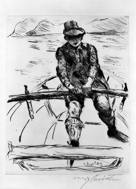 Lovis Corinth (German, 1858-1925). <em>Thomas in a Rowboat (Thomas im Ruderboot)</em>, 1919. Etching and drypoint on laid paper, Image: 12 9/16 x 9 3/4 in. (31.9 x 24.8 cm). Brooklyn Museum, Gift of The Louis E. Stern Foundation, Inc., 64.101.140 (Photo: Brooklyn Museum, 64.101.140_acetate_bw.jpg)