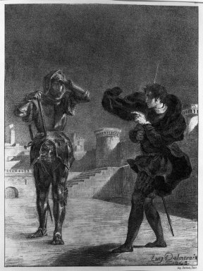 Eugène Delacroix (French, 1798-1863). <em>The Phantom on the Terrace, Hamlet</em>, 1843. Lithograph on wove Arches paper, 10 3/8 x 7 5/8 in. (26.4 x 19.4 cm). Brooklyn Museum, Gift of The Louis E. Stern Foundation, Inc., 64.101.144 (Photo: Brooklyn Museum, 64.101.144_acetate_bw.jpg)
