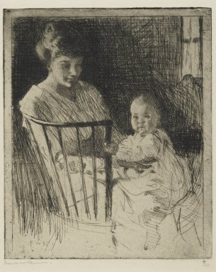 Frank Weston Benson (American, 1862-1951). <em>Mother and Child</em>, 1913. Etching with some dry point on wove paper, Sheet: 11 5/8 x 9 in. (29.5 x 22.9 cm). Brooklyn Museum, Gift of The Louis E. Stern Foundation, Inc., 64.101.17 (Photo: Brooklyn Museum, 64.101.17_PS2.jpg)