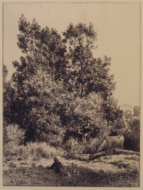 Charles-Émile Jacque (French, 1813-1894). <em>Landscape with Cows</em>, 1864. Etching on laid paper, 7 3/4 x 5 7/8 in. (19.7 x 14.9 cm). Brooklyn Museum, Gift of The Louis E. Stern Foundation, Inc., 64.101.230 (Photo: Brooklyn Museum, 64.101.230_transpc003.jpg)