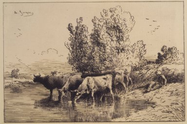 Charles-Émile Jacque (French, 1813-1894). <em>Cows</em>, 1865. Etching on laid paper, 5 13/16 x 8 5/16 in. (14.8 x 21.1 cm). Brooklyn Museum, Gift of The Louis E. Stern Foundation, Inc., 64.101.233 (Photo: Brooklyn Museum, 64.101.233_transp2217.jpg)