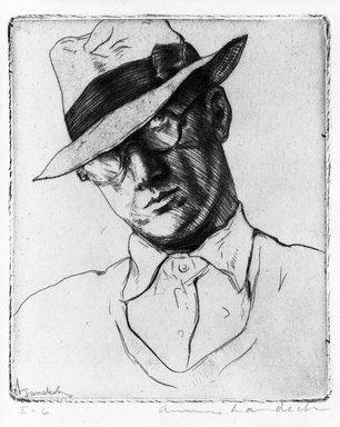 Armin Landeck (American, 1905-1984). <em>Self Portrait</em>. Drypoint, 4 x 3 3/8 in. (10.2 x 8.5 cm). Brooklyn Museum, Gift of The Louis E. Stern Foundation, Inc., 64.101.243. © artist or artist's estate (Photo: Brooklyn Museum, 64.101.243_bw.jpg)