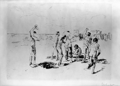 Max Liebermann (German, 1847-1935). <em>Boys Bathing</em>, 1906. Etching on wove paper, 6 3/4 x 9 in. (17.1 x 22.9 cm). Brooklyn Museum, Gift of The Louis E. Stern Foundation, Inc., 64.101.252 (Photo: Brooklyn Museum, 64.101.252_acetate_bw.jpg)
