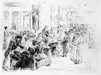 Max Liebermann (German, 1847-1935). <em>Jewish Quarter</em>, 1909. Etching and drypoint on wove paper, image: 11 13/16 x 15 7/16 in. (30 x 39.2 cm). Brooklyn Museum, Gift of The Louis E. Stern Foundation, Inc., 64.101.253 (Photo: Brooklyn Museum, 64.101.253_bw.jpg)