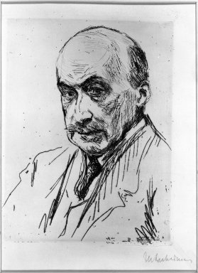 Max Liebermann (German, 1847-1935). <em>Self Portrait</em>, 1911. Drypoint and etching on wove paper, 7 11/16 x 5 13/16 in. (19.6 x 14.8 cm). Brooklyn Museum, Gift of The Louis E. Stern Foundation, Inc., 64.101.254 (Photo: Brooklyn Museum, 64.101.254_acetate_bw.jpg)