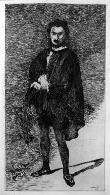 Édouard Manet (French, 1832-1883). <em>Rouviere in the Role of Hamlet</em>, 1865-1866. Etching on laid paper, 11 13/16 x 6 3/8 in. (30 x 16.2 cm). Brooklyn Museum, Gift of The Louis E. Stern Foundation, Inc., 64.101.273 (Photo: Brooklyn Museum, 64.101.273_acetate_bw.jpg)