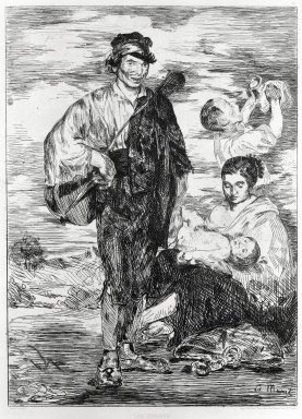 Édouard Manet (French, 1832-1883). <em>The Gypsies (Les Gitanos)</em>, 1862. Etching on Chine colle paper, Sheet: 17 1/2 x 13 5/8 in. (44.5 x 34.6 cm). Brooklyn Museum, Gift of The Louis E. Stern Collection, 64.101.274 (Photo: Brooklyn Museum, 64.101.274_bw_SL1.jpg)