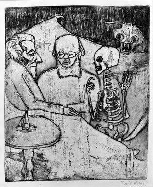 Emil Nolde (German, 1867-1956). <em>Patient, Physican, Death and Devil (Kranker, Artz, Tod und Teufel)</em>, 1911. Etching, drypoint and tonal effects on wove paper, Image (Plate): 11 3/4 x 9 5/8 in. (29.8 x 24.4 cm). Brooklyn Museum, Gift of The Louis E. Stern Foundation, Inc., 64.101.288 (Photo: Brooklyn Museum, 64.101.288_acetate_bw.jpg)