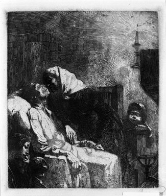 Albert Besnard (French, 1849-1934). <em>The End of All (La Fin de Tout)</em>, 1883. Etching on laid paper, 9 9/16 x 8 3/16 in. (24.3 x 20.8 cm). Brooklyn Museum, Gift of The Louis E. Stern Foundation, Inc., 64.101.28 (Photo: Brooklyn Museum, 64.101.28_bw.jpg)