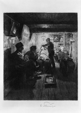 Ferdinand Schmutzer (Austrian, 1870-1928). <em>Barber Shop</em>, 1909. Etching on wove paper, 11 7/8 x 9 1/16 in. (30.2 x 23 cm). Brooklyn Museum, Gift of The Louis E. Stern Foundation, Inc., 64.101.304 (Photo: Brooklyn Museum, 64.101.304_acetate_bw.jpg)
