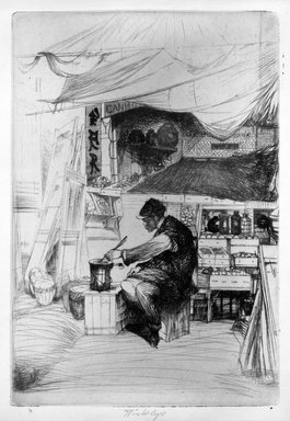 John W. Winkler (American, born Austria, 1890-1979). <em>Chow Seller (plate E)</em>, 1921. Etching on paper, sheet: 12 7/8 x 9 15/16 in. (32.7 x 25.2 cm). Brooklyn Museum, Gift of The Louis E. Stern Foundation, Inc., 64.101.336. © artist or artist's estate (Photo: Brooklyn Museum, 64.101.336_acetate_bw.jpg)