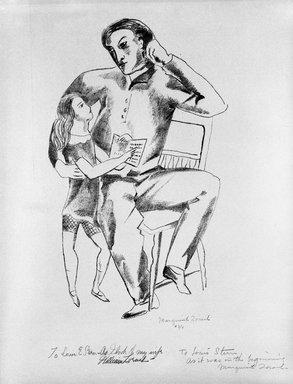 Marguerite Thompson Zorach (American, 1887-1968). <em>Portrait of William Zorach</em>, 1923-1924. Lithograph, Sheet: 17 15/16 x 12 9/16 in. (45.6 x 31.9 cm). Brooklyn Museum, Gift of The Louis E. Stern Foundation, Inc., 64.101.338. © artist or artist's estate (Photo: Brooklyn Museum, 64.101.338_bw.jpg)