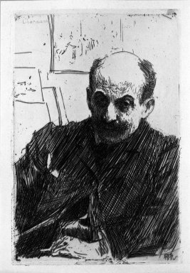Anders Zorn (Swedish, 1860-1920). <em>Max Liebermann</em>, 1891. Etching on wove paper, 9 7/16 x 6 5/16 in. (24 x 16.1 cm). Brooklyn Museum, Gift of The Louis E. Stern Foundation, Inc., 64.101.339 (Photo: Brooklyn Museum, 64.101.339_acetate_bw.jpg)