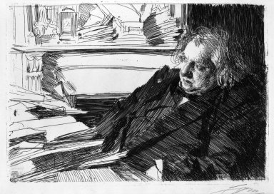 Anders Zorn (Swedish, 1860-1920). <em>Ernest Renan</em>, 1892. Etching on laid paper, 9 1/16 x 13 3/16 in. (23 x 33.5 cm). Brooklyn Museum, Gift of The Louis E. Stern Foundation, Inc., 64.101.340 (Photo: Brooklyn Museum, 64.101.340_acetate_bw.jpg)
