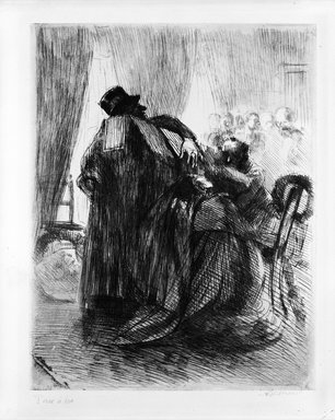 Albert Besnard (French, 1849-1934). <em>Mourning (Le Deuil)</em>, ca. 1886. Etching on laid paper, 12 7/16 x 9 3/4 in. (31.6 x 24.7 cm). Brooklyn Museum, Gift of The Louis E. Stern Foundation, Inc., 64.101.35 (Photo: Brooklyn Museum, 64.101.35_bw.jpg)