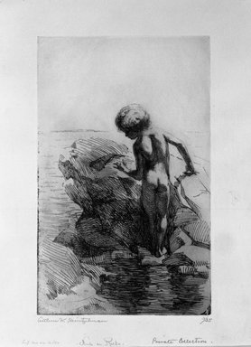 Arthur William Heintzelman (American, 1891-1965). <em>Nude on Rocks</em>, 1918. Etching Brooklyn Museum, Gift of The Louis E. Stern Foundation, Inc., 64.101.378 (Photo: Brooklyn Museum, 64.101.378_bw.jpg)