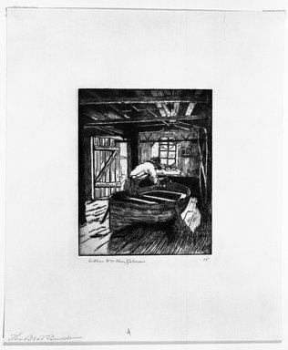 Arthur William Heintzelman (American, 1891-1965). <em>The Boat Building</em>, 1918. Etching Brooklyn Museum, Gift of The Louis E. Stern Foundation, Inc., 64.101.380 (Photo: Brooklyn Museum, 64.101.380_bw.jpg)