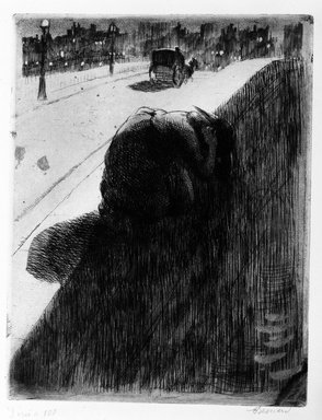 Albert Besnard (French, 1849-1934). <em>The Suicide (Le Suicide)</em>, 1886. Aquatint and etching on laid paper, 12 1/2 x 9 3/4 in. (31.8 x 24.7 cm). Brooklyn Museum, Gift of The Louis E. Stern Foundation, Inc., 64.101.40 (Photo: Brooklyn Museum, 64.101.40_bw.jpg)