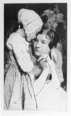 William Lee Hankey (British, 1869-1952). <em>Confession</em>, 1918. Drypoint, Sheet: 14 x 9 5/8 in. (35.6 x 24.4 cm). Brooklyn Museum, Gift of The Louis E. Stern Foundation, Inc., 64.101.412 (Photo: Brooklyn Museum, 64.101.412_bw.jpg)