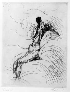 Albert Besnard (French, 1849-1934). <em>The Apotheosis (L'Apothéose)</em>, 1886. Drypoint on laid paper, 12 3/8 x 9 5/8 in. (31.5 x 24.5 cm). Brooklyn Museum, Gift of The Louis E. Stern Foundation, Inc., 64.101.41 (Photo: Brooklyn Museum, 64.101.41_bw.jpg)