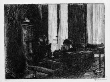 Albert Besnard (French, 1849-1934). <em>Intimacy (Intimaté)</em>, 1889. Etching on laid paper, 7 1/16 x 9 7/16 in. (18 x 24 cm). Brooklyn Museum, Gift of The Louis E. Stern Foundation, Inc., 64.101.49 (Photo: Brooklyn Museum, 64.101.49_bw.jpg)