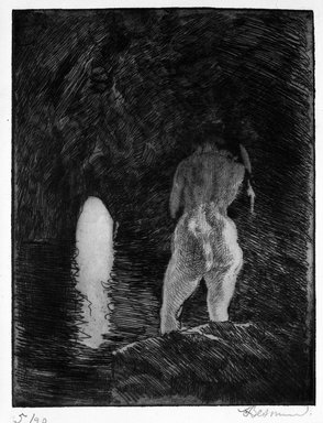 Albert Besnard (French, 1849-1934). <em>The Grotto (La Grotte)</em>, 1924. Etching on laid paper, Plate: 9 x 6 7/8 in. (22.9 x 17.5 cm). Brooklyn Museum, Gift of The Louis E. Stern Foundation, Inc., 64.101.58 (Photo: Brooklyn Museum, 64.101.58_bw.jpg)
