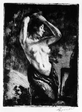 Albert Besnard (French, 1849-1934). <em>The Nude Model, Arms Raised (Le Modèle Nu les Bras Levés)</em>, 1925. Drypoint on wove paper, Plate: 10 5/8 x 7 3/4 in. (27 x 19.7 cm). Brooklyn Museum, Gift of The Louis E. Stern Foundation, Inc., 64.101.62 (Photo: Brooklyn Museum, 64.101.62_bw.jpg)