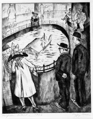 Peggy Bacon (American, 1895-1987). <em>Penguin Island</em>, 1926. Drypoint on wove paper, 9 1/8 x 7 5/16 in. (23.2 x 18.6 cm). Brooklyn Museum, Gift of The Louis E. Stern Foundation, Inc., 64.101.6. © artist or artist's estate (Photo: Brooklyn Museum, 64.101.6_bw.jpg)