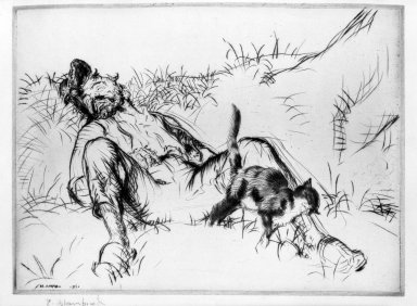 Edmund Blampied (British, 1886-1966). <em>Purring and Snoring</em>, 1921. Drypoint on wove paper, Sheet: 7 x 9 3/8 in. (17.8 x 23.8 cm). Brooklyn Museum, Gift of The Louis E. Stern Foundation, Inc., 64.101.84 (Photo: Brooklyn Museum, 64.101.84_acetate_bw.jpg)