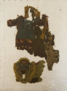 Nazca. <em>2 Textile Fragments, undetermined</em>, 200-600 C.E. Cotton, camelid fiber, a: 5 7/8 x 4 3/4 in. (15.0 x 12.0 cm). Brooklyn Museum, Gift of Adelaide Goan, 64.114.13a-b (Photo: Brooklyn Museum, 64.114.13a-b_front_PS5.jpg)