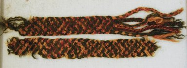 Nazca. <em>Textile Fragments, Unascertainable or Headband?, Fragments</em>, 200-600 C.E. Camelid fiber, 9/16 x 4 3/4 in. (1.5 x 12 cm). Brooklyn Museum, Gift of Adelaide Goan, 64.114.155 (Photo: Brooklyn Museum, 64.114.155_front_PS5.jpg)
