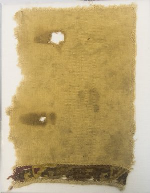 Chimú. <em>Textile Fragment, undetermined</em>, 1000-1532. Cotton, camelid fiber, 9 1/16 x 6 1/2 in. (23.0 x 16.5 cm). Brooklyn Museum, Gift of Adelaide Goan, 64.114.166 (Photo: Brooklyn Museum, 64.114.166_front_PS5.jpg)