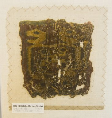 Nazca-Wari. <em>Bag?, Fragment</em>, 200-1000 C.E. Cotton, camelid fiber, 4 3/4 x 5 1/8 in. (12 x 13 cm). Brooklyn Museum, Gift of Adelaide Goan, 64.114.16 (Photo: Brooklyn Museum, 64.114.16_front_PS5.jpg)