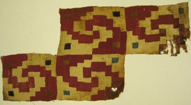 Coastal or Moche Wari. <em>Mantle, Fragment or Tunic, Fragment</em>, 600-1000 C.E. Cotton, camelid fiber, 14 3/16 x 28 3/8 in. (36 x 72.1 cm). Brooklyn Museum, Gift of Adelaide Goan, 64.114.172 (Photo: Brooklyn Museum, 64.114.172.jpg)