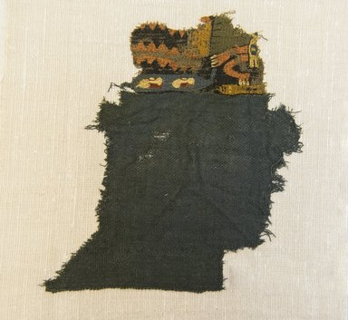 Nazca. <em>Textile Fragment, Unascertainable or Mantle?, Fragment</em>, 200-600 C.E. Cotton, camelid fiber, 5 7/8 x 6 5/16 in. (14.9 x 16 cm). Brooklyn Museum, Gift of Adelaide Goan, 64.114.18 (Photo: Brooklyn Museum, 64.114.18_front_PS5.jpg)