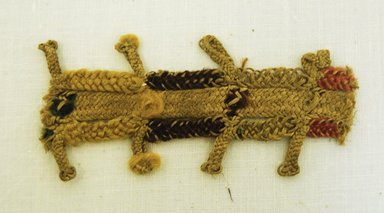 Nazca. <em>Belt, Fragment or Headband, Fragment</em>, 800 B.C.E.-600 C.E. Plant fiber, wool fleece, 1 3/8 x 2 3/4 in. (3.5 x 7 cm). Brooklyn Museum, Gift of Adelaide Goan, 64.114.206 (Photo: Brooklyn Museum, 64.114.206_front_PS5.jpg)