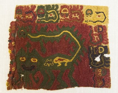 Paracas Necropolis. <em>Textile Fragment, Unascertainable or Mantle, Fragment</em>, 200-600 C.E. Cotton, camelid fiber, 5 1/8 x 5 1/2 in. (13 x 14 cm). Brooklyn Museum, Gift of Adelaide Goan, 64.114.20 (Photo: Brooklyn Museum, 64.114.20_front_PS5.jpg)