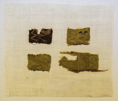 Chancay. <em>4 Textile Fragments, undetermined</em>, 1000-1532. Cotton, camelid fiber, a: 1 3/16 x 1 9/16 in. (3 x 4 cm). Brooklyn Museum, Gift of Adelaide Goan, 64.114.48a-d (Photo: Brooklyn Museum, 64.114.48a-d_front_PS5.jpg)